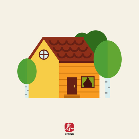 log on: Icon of log house surrounded with birch trees