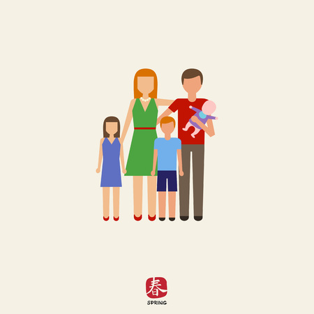 three children: Icon of traditional family consisting of man, woman and three children Illustration