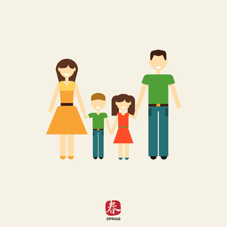 plait: Icon of traditional family consisting of man, woman and two children