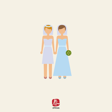 homosexual wedding: Icon of two brides Illustration