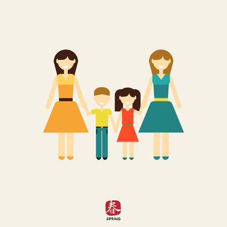 nontraditional: Icon of gay family consisting of two women and two children