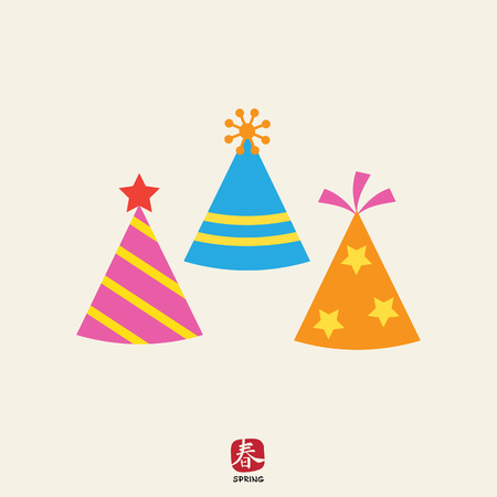 event party festive: Icon of tree multicolored arty hats having various design