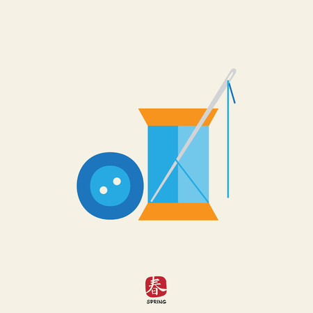 mending: Icon of sewing spool of blue thread, needle and blue button Illustration