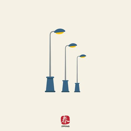 Icon of street lamps standing in row