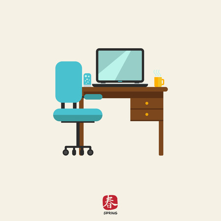 desk lamp: Icon of study interior including chair, desk with laptop, lamp and hot drink cup