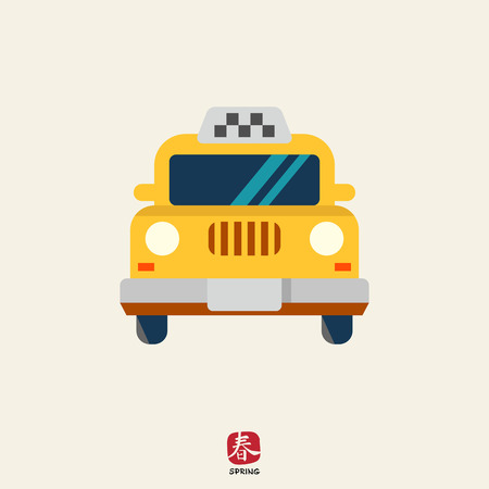 front view: Icon of taxi car, front view Illustration
