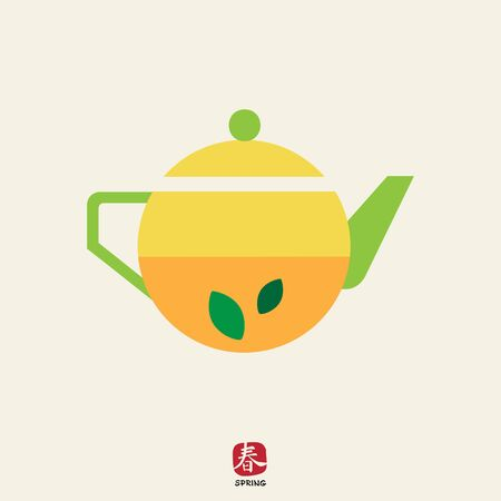 mint leaves: Icon of teapot with tea and mint leaves inside