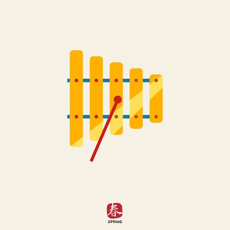 xilofono: Icono de xil�fono con un mazo Vectores