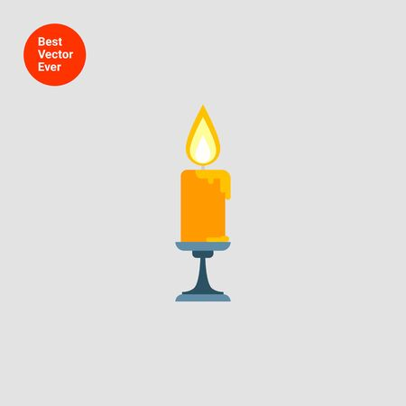 advent candles: Icon of burning candle in sconce