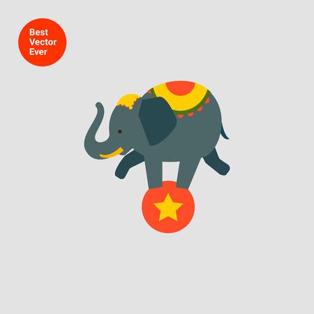 elefant: Icon von Zirkus-Elefant Balancieren auf rote Kugel