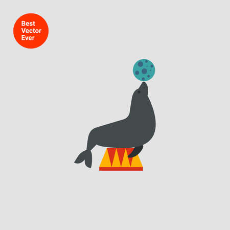 trained: Icon of circus seal holding ball on its nose Illustration