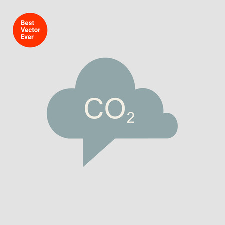 greenhouse and ecology: Icon of CO2 sign in grey cloud