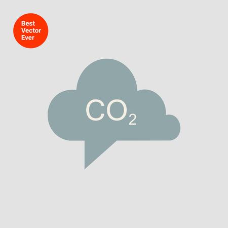 invernadero: Icono del signo de CO2 en gris nube