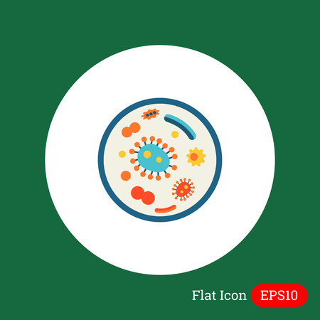 petri dish: Icon of bacteria in petri dish