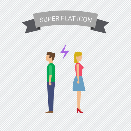 couple back to back: Icon of man and woman turning back to each other with lightning sign between them Illustration