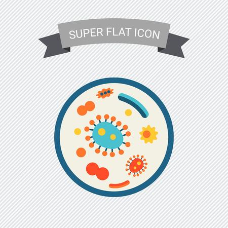 bacteria: Icon of bacteria in petri dish