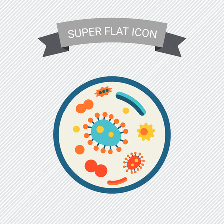bacterias: Icono de bacterias en placa de Petri Vectores