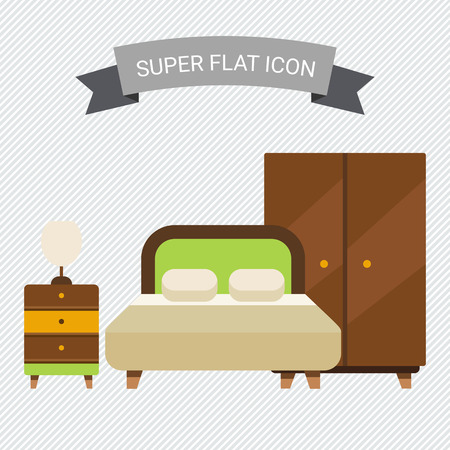 web store: Icon of bedroom interior including double bed, wardrobe and bed cabinet with lamp