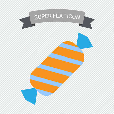 wrap: Icon of candy in striped paper wrap Illustration