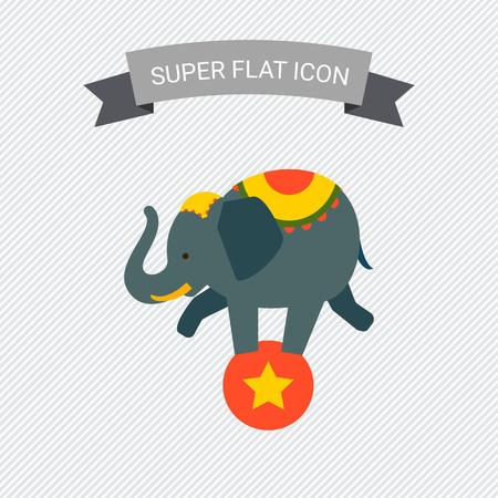 balancing: Icon of circus elephant balancing on red ball