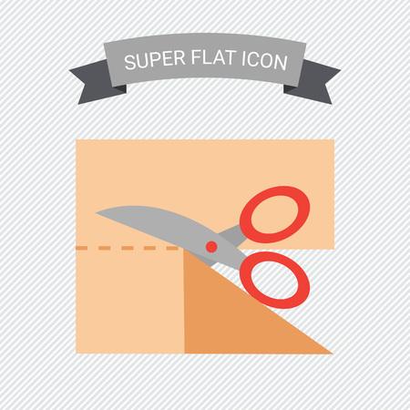 Icon of scissors cutting cloth piece