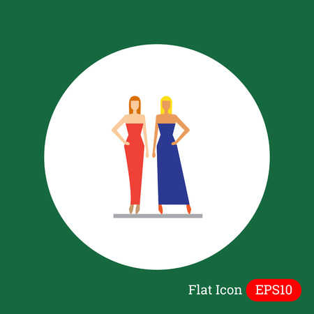 dressmaking: Icon of two fashion models demonstrating evening dresses