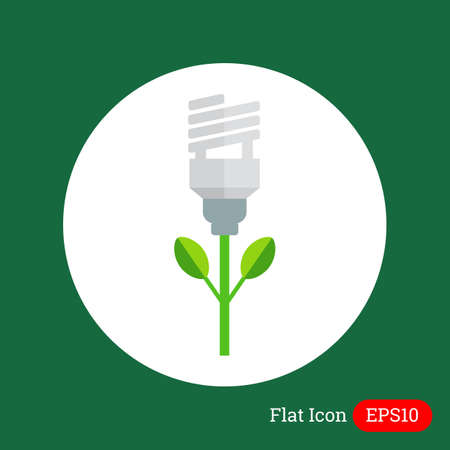 flower lamp: Icon of stylized green fluorescent lamp flower Vectores