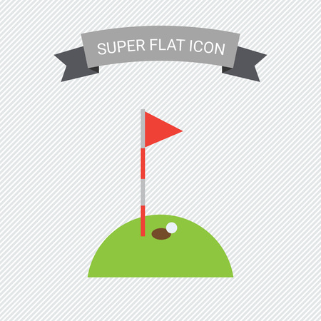 course: Icon of hole marked with red pennant on golf course