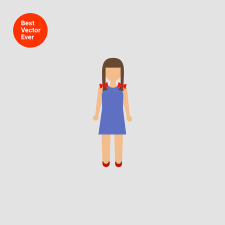blue dress: Icon of girl with braids wearing blue dress Illustration