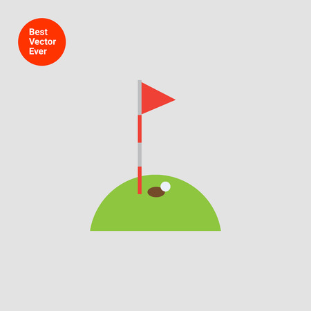 pennant: Icon of hole marked with red pennant on golf course