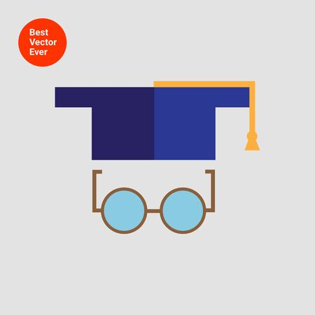 round glasses: Icon of graduation hat and round glasses