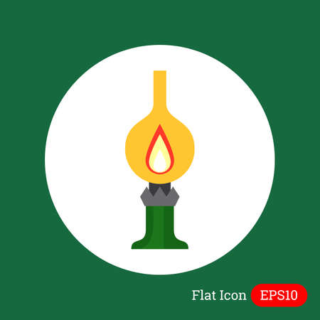kerosene: Icon of kerosene lamp with flame inside