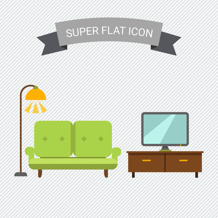 tv stand: Icon of living room interior including couch, TV stand, TV-set and glowing floor lamp Illustration