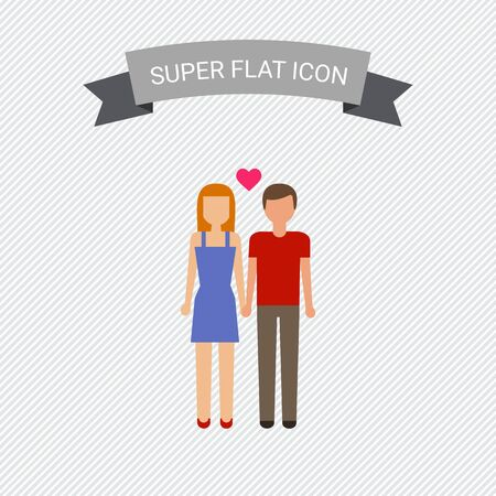loving: Icon of loving couple with heart sign