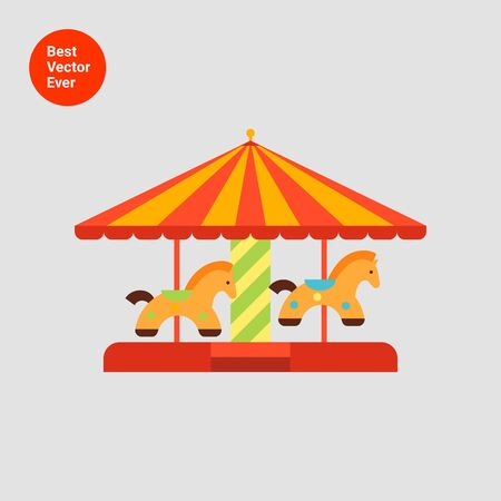 flat roof: Icon of classic merry-go-round with striped roof and horse figures Illustration