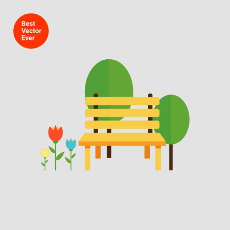 banco parque: Icono de la banca del parque, los �rboles y de flores