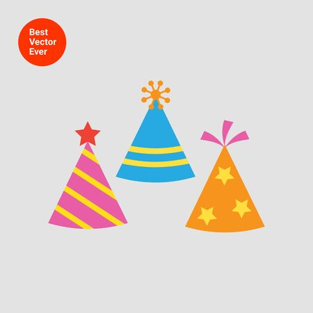 party hat: Icon of tree multicolored arty hats having various design
