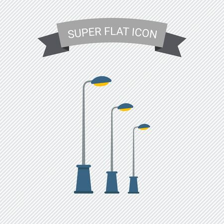 in a row: Icon of street lamps standing in row