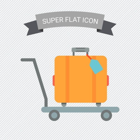 suitcase: Icon of travel suitcase with tag on cart Illustration