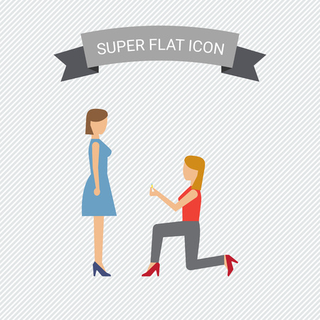 nontraditional: Icon of woman standing on her knee in front of woman and giving ring