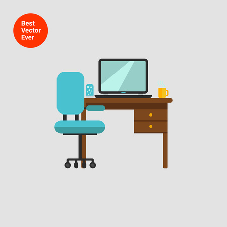 Icon of study interior including chair, desk with laptop, lamp and hot drink cup