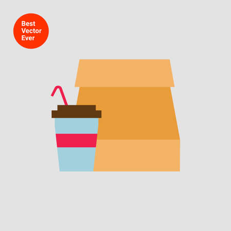 colorful straw: Icon of paper bag and disposable cup with straw Illustration
