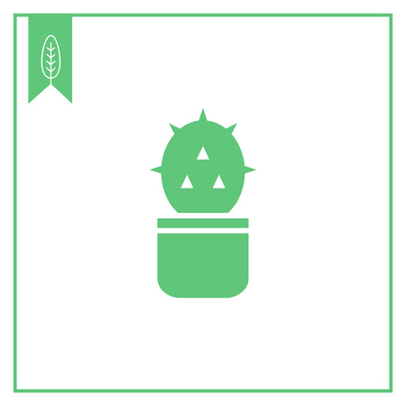dry flowers: Icon of cactus in pot Illustration