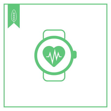 heart rate: Icon of watch with heart rate monitor