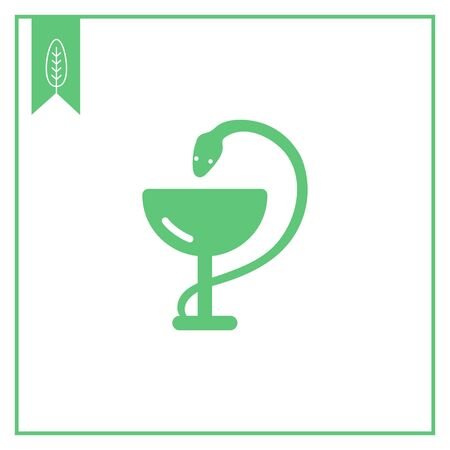 toxic substance: Icon of medical snake and cup