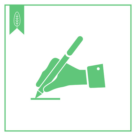 hand writing: Icon of man hand writing with pen