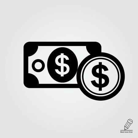 dollar icon: Icon of dollar banknote and dollar sign