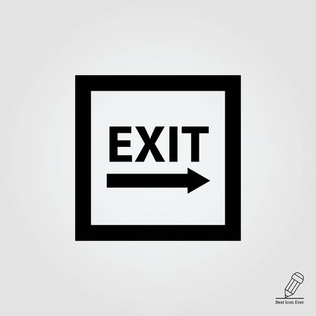 exit sign: Icon of exit sign with arrow to the right side