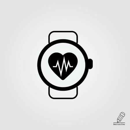 heart monitor: Icon of watch with heart rate monitor
