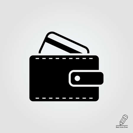 cashless: Icon of wallet with credit card